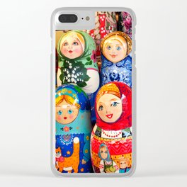 Culture. Group of matrioska, or babushka, symbol of maternity from Russia. Clear iPhone Case