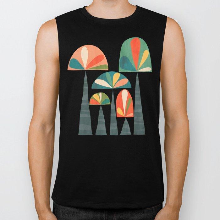 Quirky retro palm trees Biker Tank