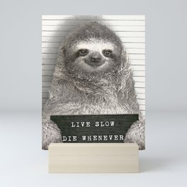 Sloth in a Mugshot Mini Art Print