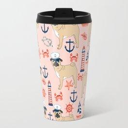 Pug nautical anchor sailing lighthouses dog breed pet portraits by pet friendly Travel Mug