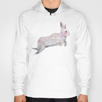 rabbit Hoodies featuring White Rabbit by Ben Geiger
