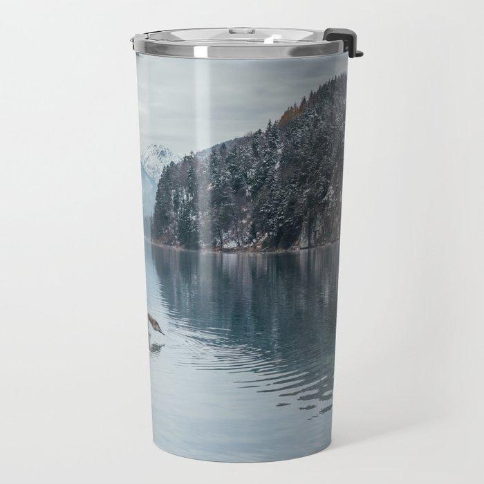 Swans on the Apsee lake, Bavrian alps Travel Mug