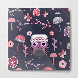 Baby owl, lizards and butterflies Metal Print