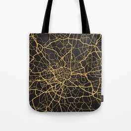 LONDON ENGLAND GOLD ON BLACK CITY MAP Tote Bag