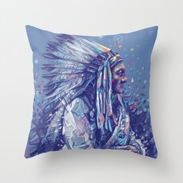 native american portrait-sitting bull Throw Pillow