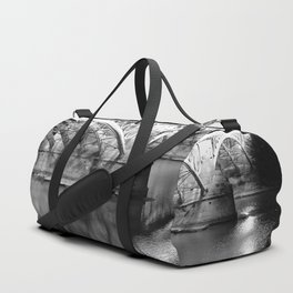 Black white bridge night photography Duffle Bag