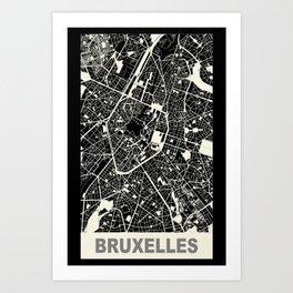 Bruxelles, Belgique, city map, Black Art Print