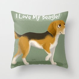 I love my beagle! Throw Pillow