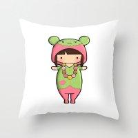 macaron Throw Pillows featuring Kigurumi Macaron by Joanna Zhou