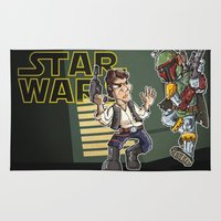 han solo Area & Throw Rugs featuring Star Wars - Han Solo x Bobba Fett by neicosta