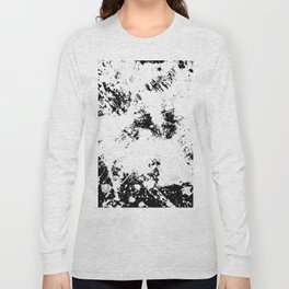 Spilt White Textured Black And White Abstract Painting Long Sleeve T-shirt
