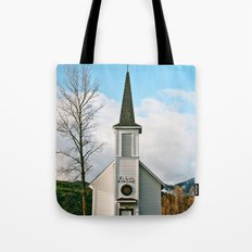 Country Church in the Mountians Tote Bag