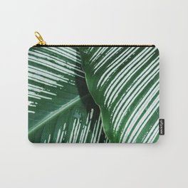 Green Tropical Leaves with White Stripes Closeup Carry-All Pouch