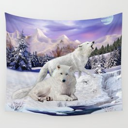 Snow Wolves of the Wilderness Wall Tapestry