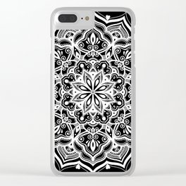 Black Heart Mandala Clear iPhone Case