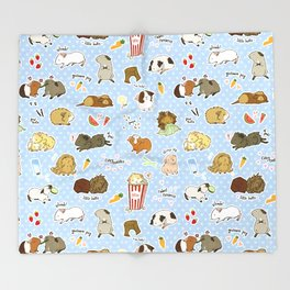 Guinea Pig Party! - Cavy Cuddles and Rodent Romance Throw Blanket