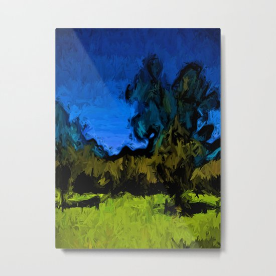 Gold Trees in the Blue Wind Metal Print