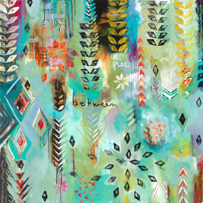 """""""Fly Free Between"""" Original Painting by Flora Bowley Comforters"""