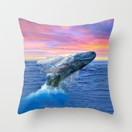 Breaching Humpback Whale at Sunset Throw Pillow