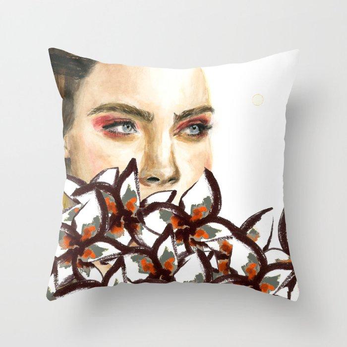 Supermodel Cara Throw Pillow