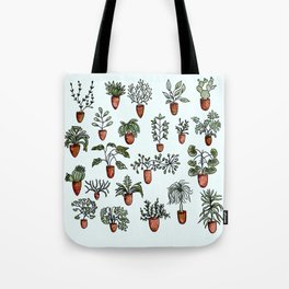 Succulent Houseplants in Terracotta Pots, Watercolor Cacti & Plant Wall Art Tote Bag