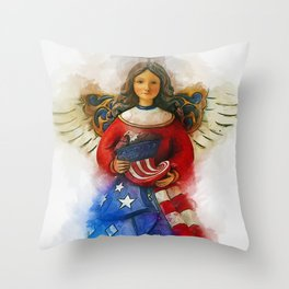 USA Angel Throw Pillow