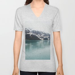 Hubbard Glacier Snowy Mountains Alaska Wilderness Unisex V-Neck