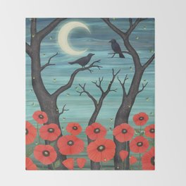 crows, fireflies, and poppies in the moonlight Throw Blanket