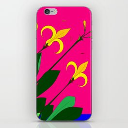 Yellow Lilies with the Sun in the Pink Sky iPhone Skin