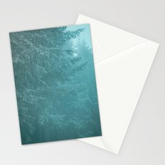 Forest Fog - Green Trees with Snow in the Pacific Northwest Stationery Cards