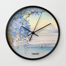 Mount Fuji and wisteria flowers Wall Clock