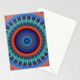 Orange Bright Blue Mandala Design Stationery Cards
