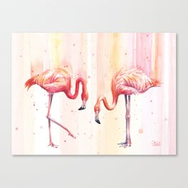 Two Flamingos Watercolor Tropical Birds Animals Canvas Print