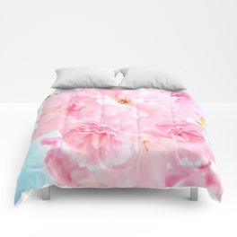 Soft Blue Sky with Pink Peonies Comforters