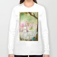 westie Long Sleeve T-shirts featuring Best Friends Westie Squirrel ~ West Highland White Terrier by Ginkelmier