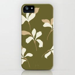 White flowers on olive green iPhone Case