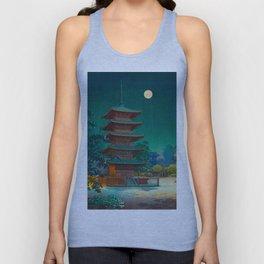 Tsuchiya Kôitsu Japanese Woodblock Vintage Print Garden At Night Moonlit Pagoda Tower Turquoise Unisex Tank Top