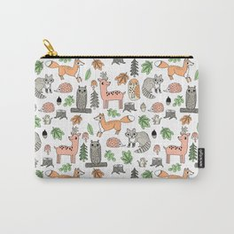 Woodland foxes rabbits deer owls forest animals cute pattern by andrea lauren Carry-All Pouch