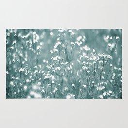 Tiny White Flowers Against Grey-Green Background #decor #society6 #buyart Rug