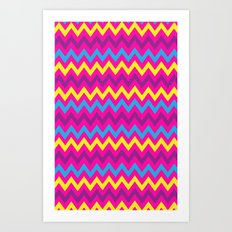 bright chevron Art Print