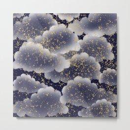 Cloudy night with falling stars digital art Metal Print