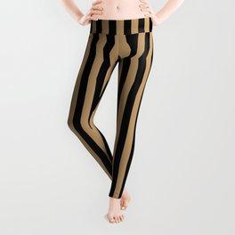 Black and Camel Brown Vertical Stripes Leggings