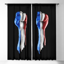France strength and unity / 3D render of raised fist covered with French tricolour flag Blackout Curtain