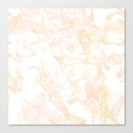White Marble Pastel Pink and Gold by Nature Magick Canvas Print