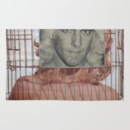 Bird in a Cage - Vintage Collage Rug