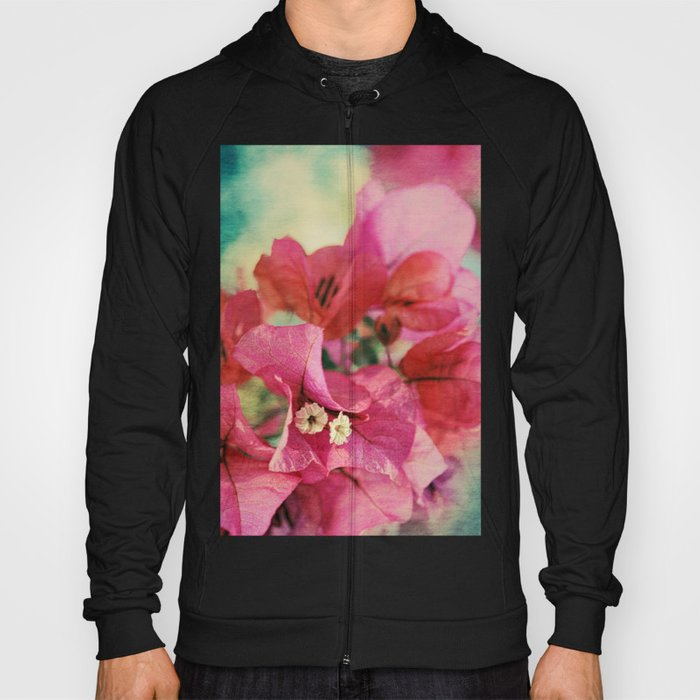Vintage Bougainvillea Flowers in pink & green with textures Hoody