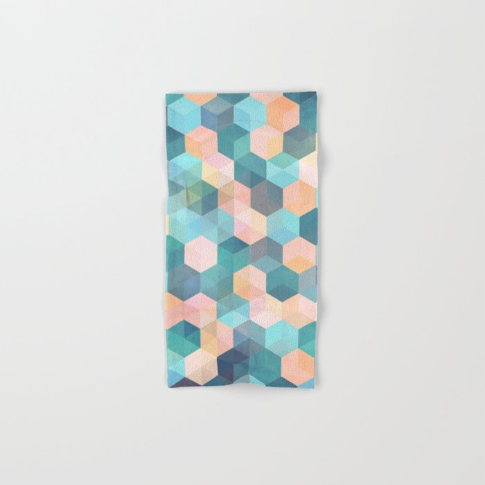 Child's Play 2 - hexagon pattern in soft blue, pink, peach & aqua Hand & Bath Towel