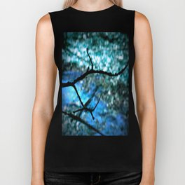 Turquoise Blue Nature Abstract Biker Tank