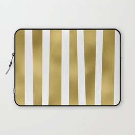 Gold unequal stripes on clear white - vertical pattern Laptop Sleeve