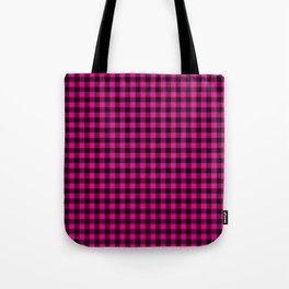 Classic Hot Pink Country Cottage Summer Buffalo Plaid Tote Bag